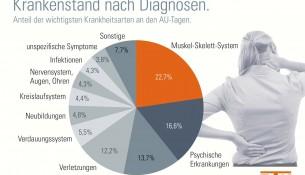 Infographik Krankmeldungen 2014 nach Krankheiten / Diagnosen - apotheken-wissen.de