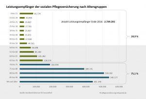 Infographik Pflegebedürftigkeit nach Altersgruppen - apotheken.wissen.de