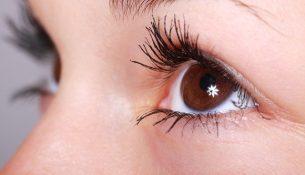 Auge und Wimpern einer Frau